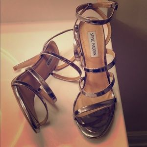 Steve Madden silver strapped heels